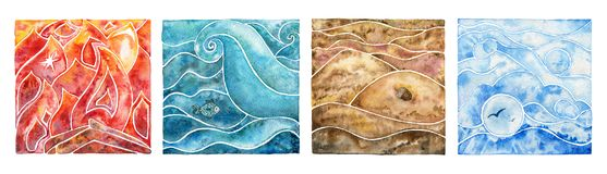 Collection of four natural elements: fire, water, air and earth. Four natural elements: fire, water, air and earth. Watercolor illustration set Royalty Free Stock Photography