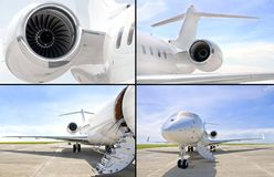 Collection of four photos of luxury private jet aircraft stock image