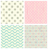 Collection of four retro different vector seamless patterns Royalty Free Stock Photography