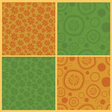 Collection of four  seamless patterns Stock Photo