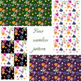 Collection of four seamless patterns with colorful flowers Stock Images