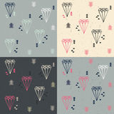 Collection of four seamless patterns with geometric diamonds and Stock Photo