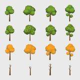 Collection of Four Season Cartoon Trees. Spring, Summer, Autumn, Winter royalty free illustration