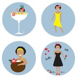 Collection with four stickers with prerry woman. EPS 10 Royalty Free Stock Image