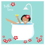 Collection with four stickers with prerry woman. EPS 10 Royalty Free Stock Photo