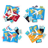 Collection of Four Travel Sets. Vector for Tourist royalty free illustration
