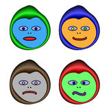 Four animated emoticons Royalty Free Stock Photos