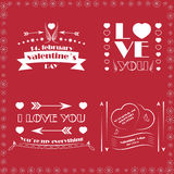 Collection of four Valentines day decorative wishes Royalty Free Stock Photo
