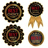 Collection four vector badges Best choice, Best offer, Bestseller, Best price. Vector Royalty Free Stock Photo