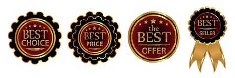 Collection four vector badges Best choice, Best price, Best offer, Bestseller. Vector. Illustration Stock Photos