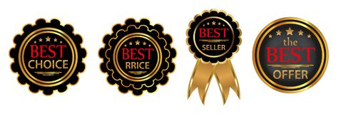 Collection four vector badges Royalty Free Stock Image