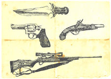 Collection of four weapons. Hand-drawn collection of four weapons. Detailed and precise work. (For similar images check out my portfolio royalty free illustration