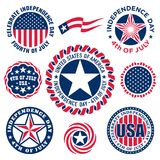 Collection of Fourth of July vintage labels commemorating United States Independence. In vector format stock illustration