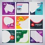 Collection fraîche d'ensemble de courrier d'achats de vente de conception de médias sociaux illustration de vecteur
