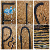 Collection of fragments of wall-street graffiti. Stock Photos