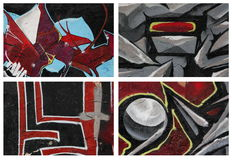 Collection of fragments of wall-street graffiti. Stock Image