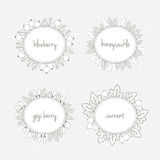 Collection of frames with berries and leaves Royalty Free Stock Images