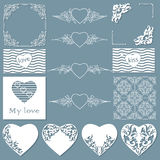 Collection of frames of different shapes, seamless patterns with hearts and separators. Stock Images