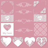 Collection of frames of different shapes, seamless patterns with hearts and separators.  Stock Photos
