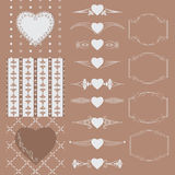 Collection of frames of different shapes, seamless patterns with hearts and separators. Vector illustration. Royalty Free Stock Photo
