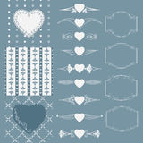 Collection of frames of different shapes, seamless patterns with hearts and separators. Vector illustration. Royalty Free Stock Images
