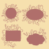 Collection of frames with hand drown floral elements Royalty Free Stock Photography