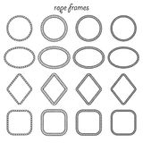 Collection of frames of rope. Vector set of round, oval, square and rhombus shape frame from rope isolated on white background. For the design of banners Royalty Free Stock Photography