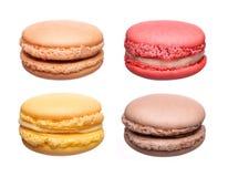 Collection française colorée de macarons d'isolement Photographie stock libre de droits