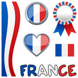 France French Patriotic Set. Collection of France or French patriotic elements, including a vertical banner, a badge or button, a award ribbon, a glossy heart Royalty Free Stock Photography