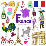 Collection of France icons Stock Image