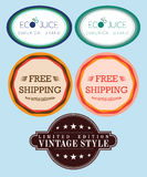 Collection free shipping labels, eco juice. Collection of signs free shipping labels, eco juice. vintage retro set stock illustration