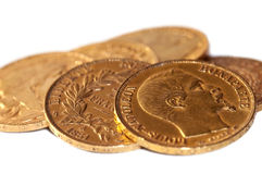 Collection of french antique gold coins (Napoleon) stock photo