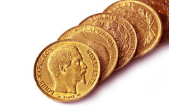 Collection of french antique gold coins (Napoleon) royalty free stock image