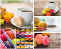 Collection of French colorful macarons try to check stock photo