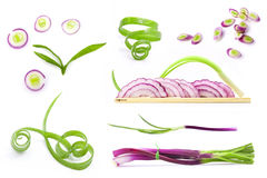 Collection of fresh chopped spring onion slices Royalty Free Stock Photography