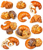 Collection of fresh and delicious pastries on a white Stock Photography