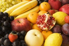 Collection of fresh fruit. Assortment of fresh and healthy fruit royalty free stock photography