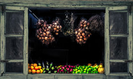 Collection of fresh fruit and vegetables. Stock Images