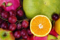 Fruit Background. Collection of Fresh Fruits. Good for diet program royalty free stock photo
