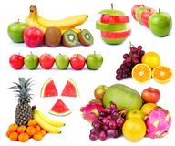 Tropical Fresh Fruit Collage. High resolution collection of Fresh Fruits, isolated on white stock images
