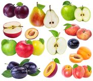 Collection of fresh fruits isolated. On white background Royalty Free Stock Photo