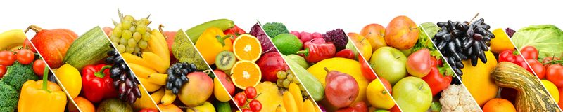 Collection fresh fruits and vegetables isolated on white backgro Royalty Free Stock Photo
