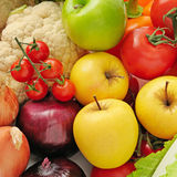 Collection fresh fruits and vegetables Stock Photo