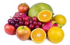 Fruits. Collection of Fresh Fruits, on white stock image