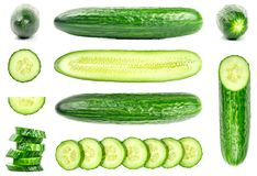 Collection of fresh green cucumbers isolated on white. Background. Set of multiple images. Part of series Royalty Free Stock Photos