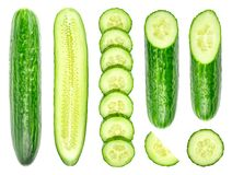 Collection of fresh green cucumbers isolated on white. Background. Set of multiple images. Part of series Stock Image
