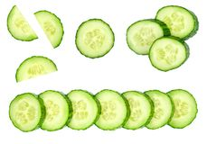Collection of fresh green cucumbers isolated on white. Background. Set of multiple images. Part of series Stock Images