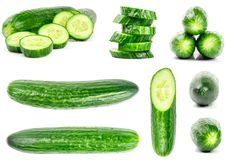 Collection of fresh green cucumbers isolated on white. Background. Set of multiple images. Part of series Stock Photography