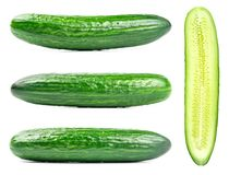 Collection of fresh green cucumbers isolated on white. Background. Set of multiple images. Part of series Royalty Free Stock Photography