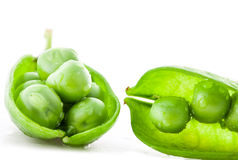 Collection Fresh green pea pod and peas Stock Image